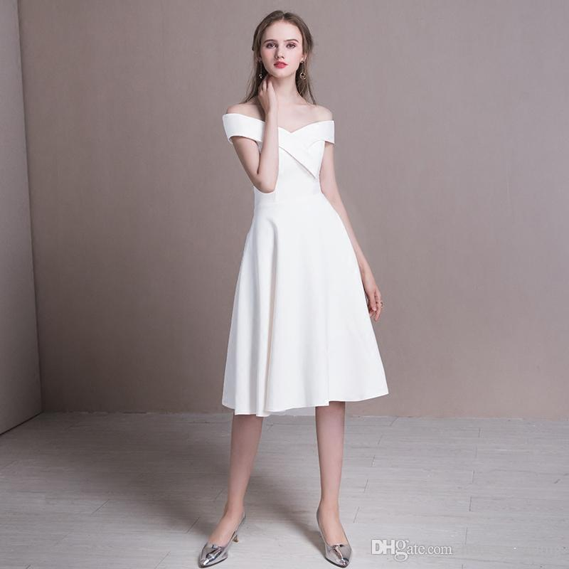 Little White Dresses Evening Wear Tea Length Cocktail Party Dresses Off  Shoulder Short Prom Dresses Cheap Real Photo In Stock 2018 New Lime Green  Prom ... bac52dae98ce