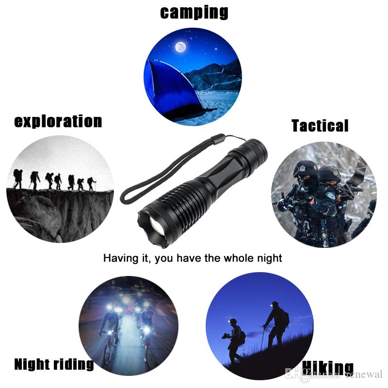 DHL XML-T6 Flashlight antorcha 5000 lúmenes luz de bicicleta 5 modos antorcha zoomable Linterna LED +18650 Batería + Cargador