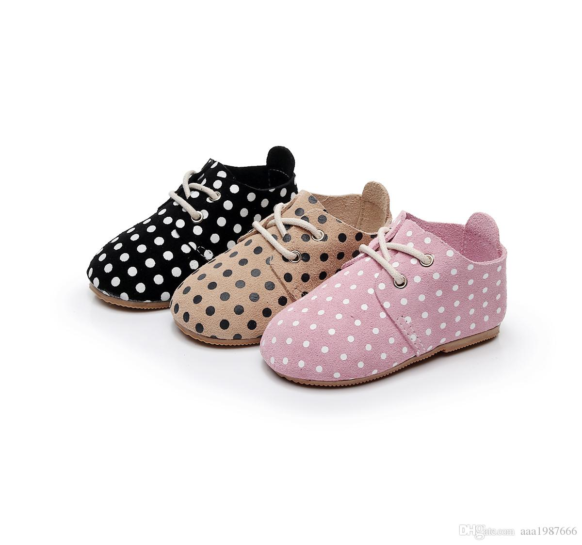 2018 Spring new High quality hard rubber sole genuine leather handmade polka dot baby maccasins shoes kids shoes baby boots