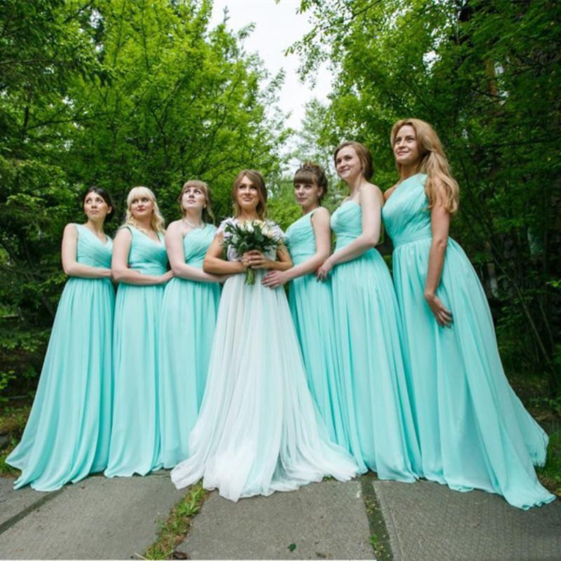 Мятно-Зеленый Длинный Шифон Платье Невесты 2018 Дешевые Линии Плиссированные Платья Невесты Под 100 3 Стили