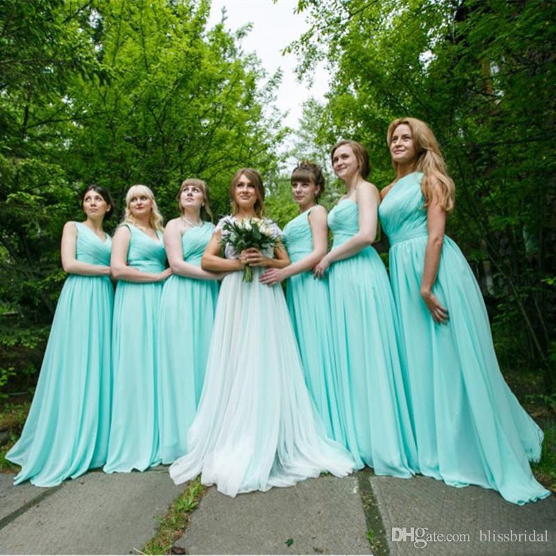 ミントグリーンロングシフォンブライドメイドドレス2018安いaラインプリーツブライドメイドドレス100 3スタイル未満