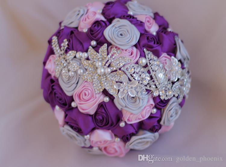 Custom DIY Pearl Jewelry Broche Purple Pink Rose Boda Novia Dama de honor Bouquet