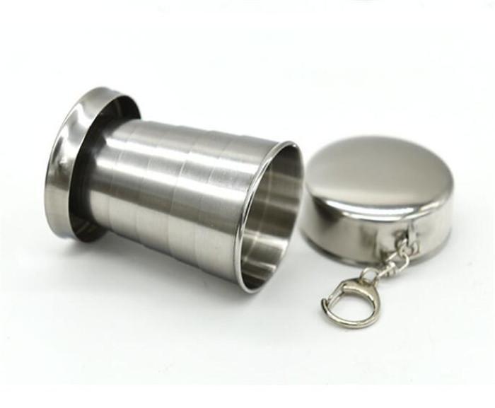 Copo Telescópico 75 ml Portátil Dobrável Copo de Vinho de Aço Inoxidável Caneca de Viagem para o Piquenique Ao Ar Livre Chaveiro Cadeia Dobrável G205