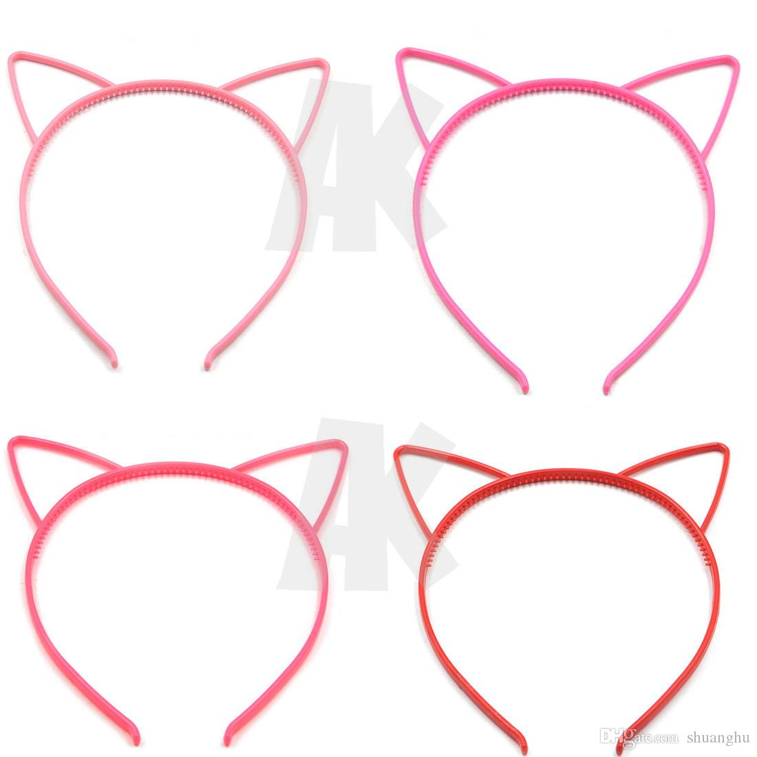 Venta al por mayor Colores mezclados Wowen Girl Kids Plastics Diadema Banda para el cabello Cat Ear Dress Party