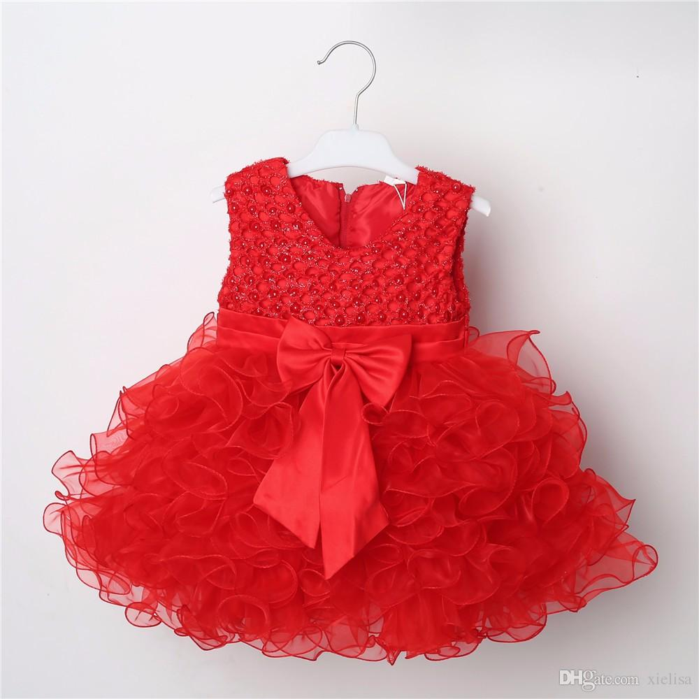 2018 Hot Lace Flower Girl Wedding Girl Dress Baptism Cake Dresses For Party Occasion Of Children 1 Year Girl Birthday Party