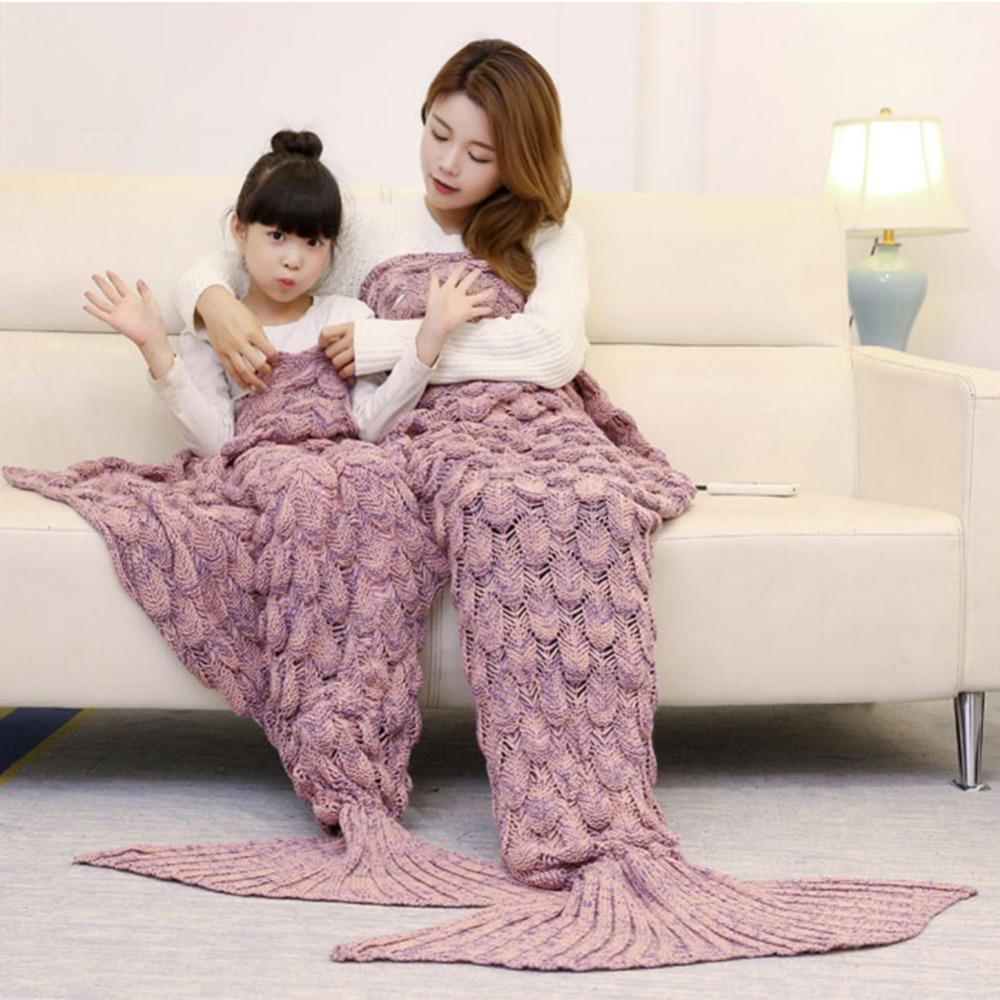 Mermaid Blanket Mermaid Tail Wool Per Copridivano New Trend Trend Bambini adulti Relax Sleeping Nap Coperte colorate