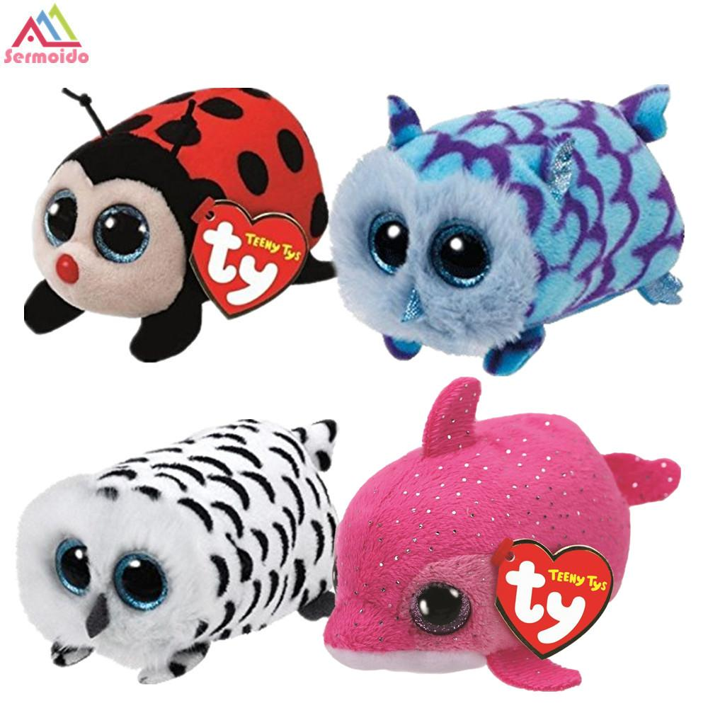Sermoido Beanie Boo Teeny Tys Pink Dolphin Trixy Lady 9cm Ty Beanie Boos  Big Eyes Plush Toy Doll Owl Baby Kids Gift UK 2019 From Bdshop d24746799