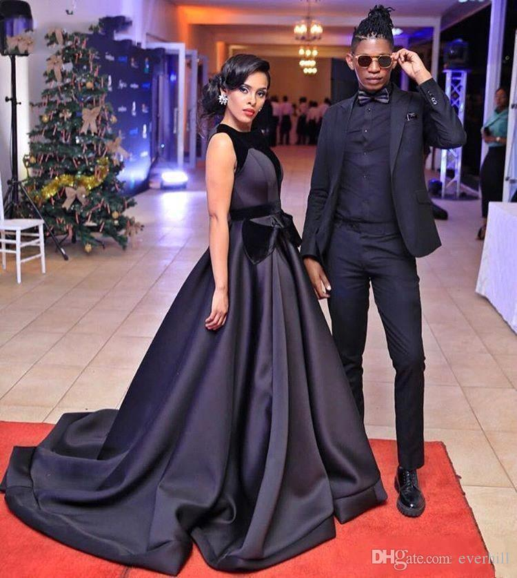 African Black Celebrity Red Carpet Gowns Evening Dresses Long A-Line Sweep Train Sleeveless Satin Formal Party Dress Robe De Bal Longue 2018