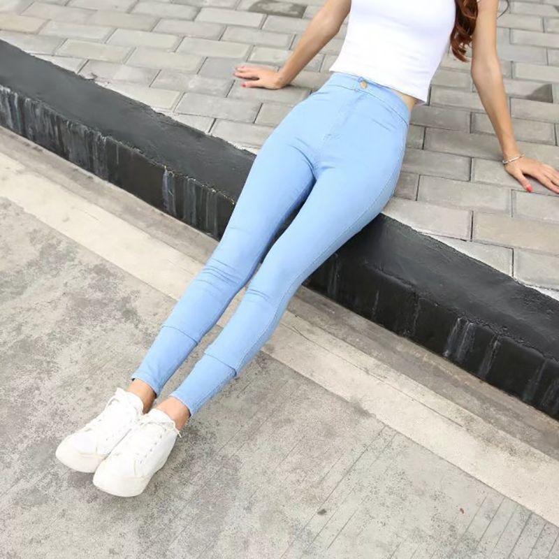 1081cf211e75 Neue Mode Jeans Frauen Zeichnen Hosen Hohe Taille Jeans Sexy Dünne  Elastische Dünne Hosen Hosen Fit Lady