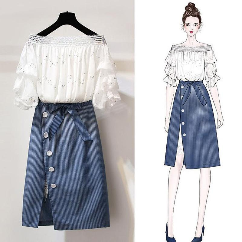 f1eb3d8aef 2019 Set Women Skirt And White Top Off Shoulder Crop Top Womens Casual  Summer Outfits For Women 2018 From Baiqian, $36.51 | DHgate.Com