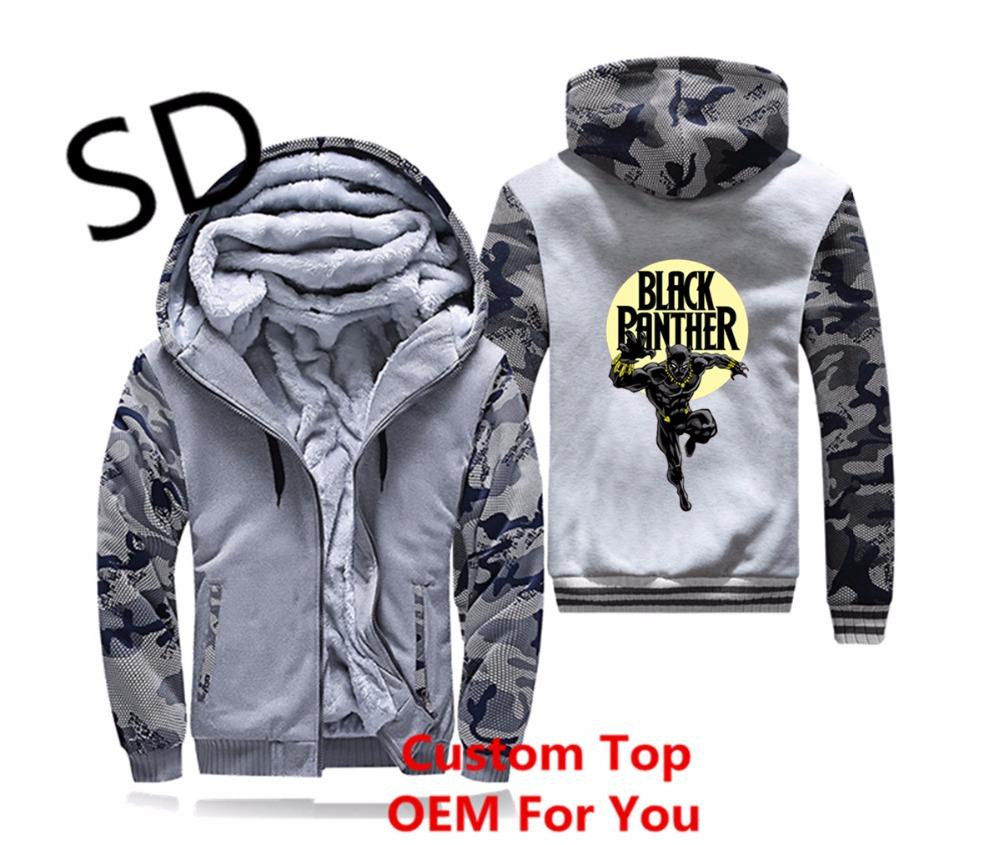 newest bf636 42b3b Dropshipping Black Panther Hoodies Men tracksuit Swearshirt white Harajuku  Zipper Coat streetwear Jacket fitness Clothing Tops