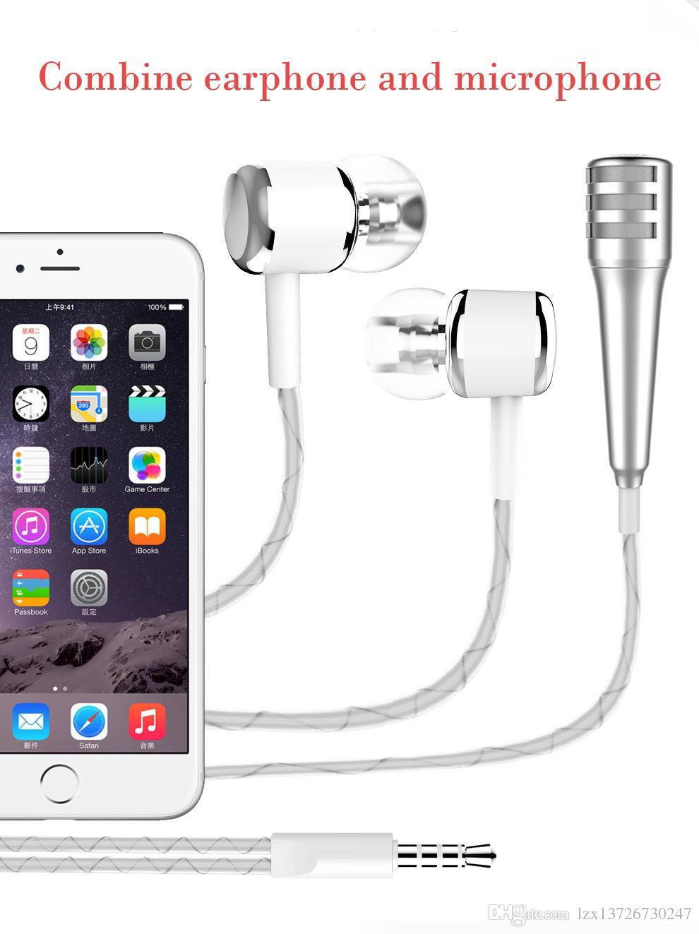 2018 Yeni Protable Mini K Şarkı Mikrofon Ile 3.5mm Kulaklık Kulaklık Cep Telefonu Ile Bilgisayar KTV Karaoke Mikrofon Paketi