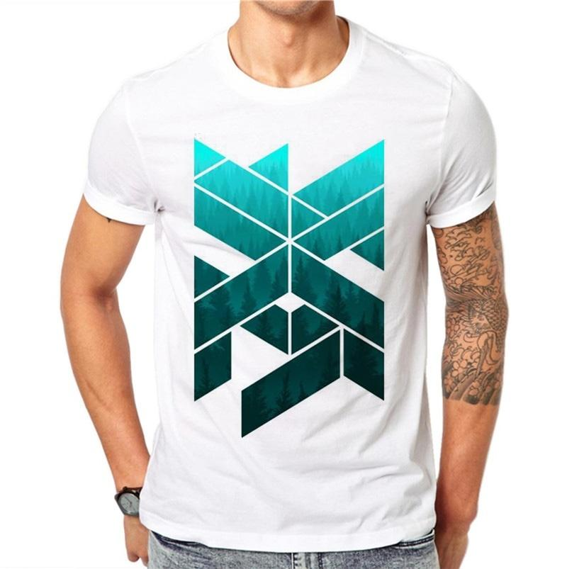 464030fc5 2018 100% Cotton Summer Ink Geometric Figure Design Men T Shirts Fashion  Simple Design Man Short Sleeve Tops Tees Clothes Xxxl White T Shirts With  Designs ...