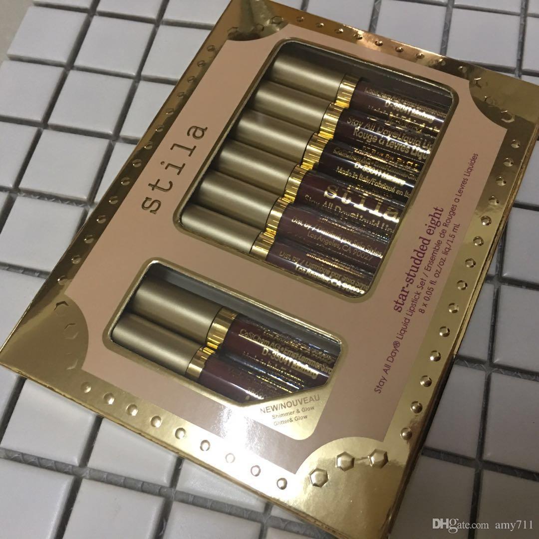 New Hot stila Star-studded Eight Stay All Days Liquid Lipstick set / box Long Lasting Creamy Shimmer Liquid Lipstick