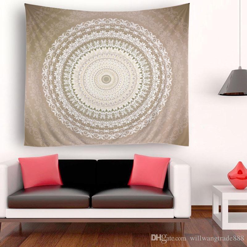 150x180cm Flores bastante redondas grandes Tapicería psicodélica Colgante de pared Mandala Hippie Tiro Colcha de cama