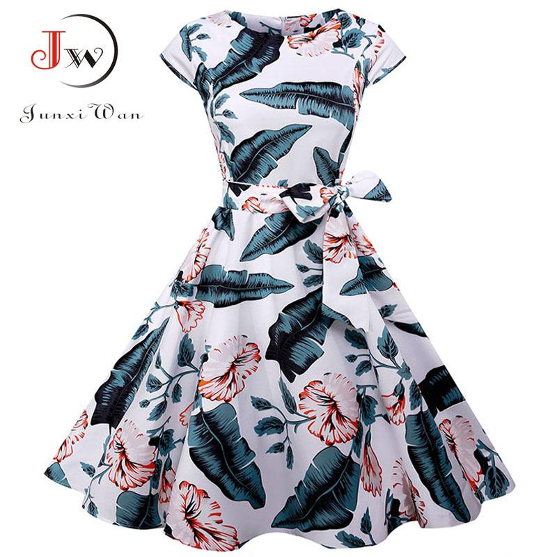 a3b4c2a7f1 2019 Summer Dress 2018 Women Short Sleeve Casual O Neck Vintage Floral  Dresses 50s 60s Retro Rockabilly Party Plus Size VestidosY1882302 From  Zhengrui06, ...