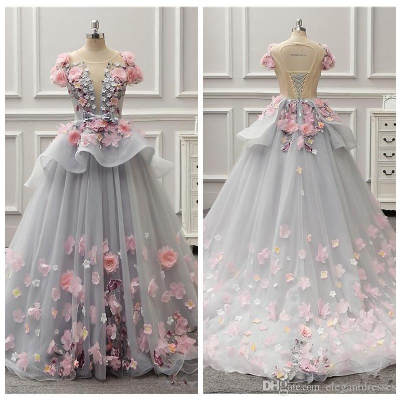 9db0747b3bd7 2018 Sheer Colorful Ball Gown Girl's Pageant Dresses Spring Summer Light  Gray Flora Appliques Evening Gowns Lace Up Back Peplum Party Wear