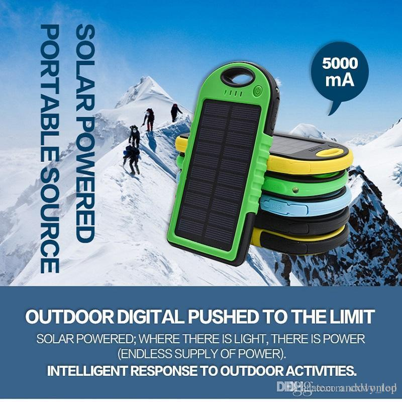 5000mAh 3000mAh Solar Power Bank Solar Charger Waterproof Portable External Battery USB Charger Built in LED light Compass for Phone