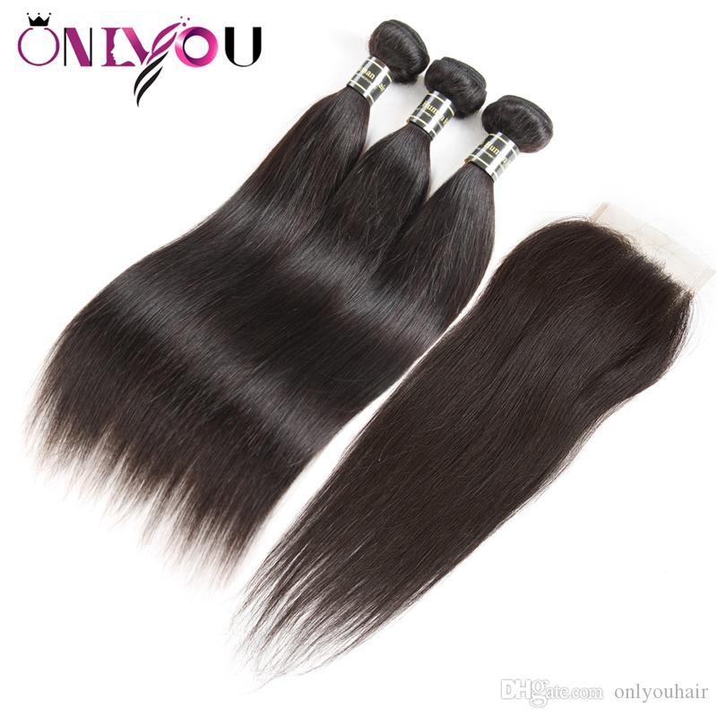 Brazilian Straight Virgin Human Hair Bundles 3 Bundles with 4x4 Top Lace Closure Cheap Wet Weave Remy Human Hair Extensions Drop Shipping
