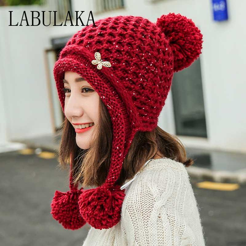 Women Winter Beanie Hat Butterfly Label Plus Velvet Knit Hats For Ladies  Skullies Beanies Ear Protection Cap Cotton Crochet Caps Hoodies Beanies  From ... 2b0e8dace
