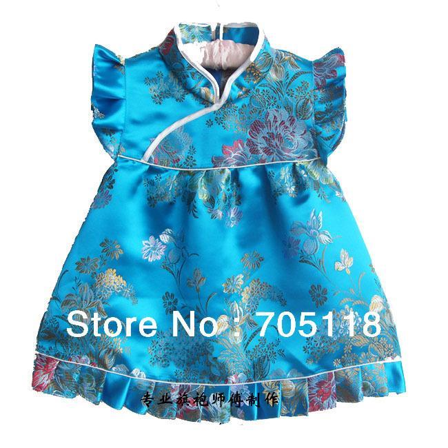 Купить Оптом Новое Платье Младенца Младенческого Silk Жаккарда Китайского  Платья Cheongsam Для Младенца 4Month 3 Лет 12 Опций Свободная Перевозка  Груза QZ 7 ... f94a6c60de0a2
