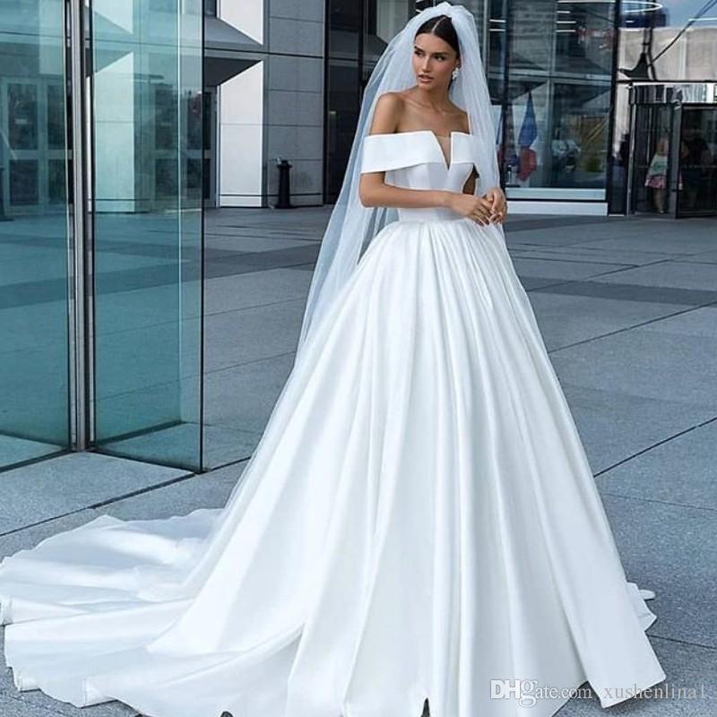Discount White Satin Romantic Wedding Dresses Elegance Off Shoulder ...