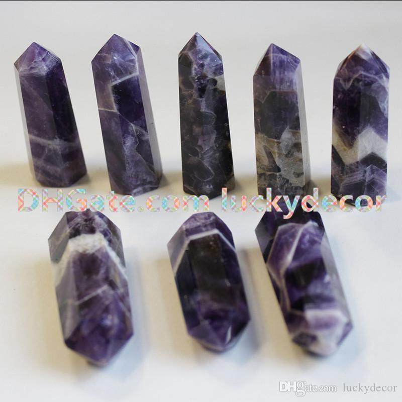 Dream Amethyst Tower Point Natural Banded Amethyst Wand Third Eye Chakra Rocks and Minerals Meditation Crystals Boho Bohemian Altar Gift Hot