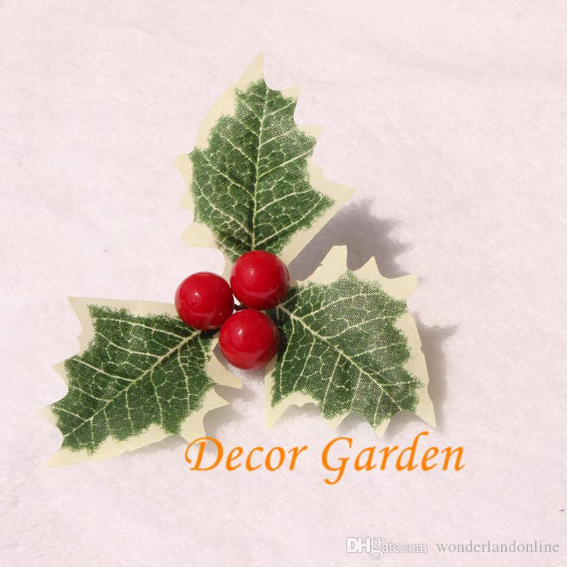 1.2cm Christmas Berries with Leaves Christmas Tree Decorations Artificial DIY Holiday Gifts Cute Berries Plants