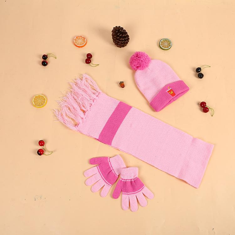 2018 Korean style winter children's hat scarf gloves three pieces in one set warm suit