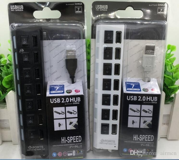 Multi LED 7 Ports haute vitesse Hub USB 2.0 480Mbps Hub USB sur interrupteur portable USB Splitter Périphériques Accessoires pour ordinateur DHL FEDEX