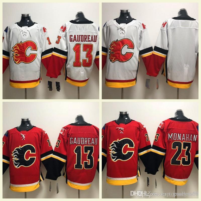 2019 Calgary Flames 2018 Hockey Jerseys 13 Johnny Gaudreau 5 Mark Giordano  68 Jaromir Jagr 23 Sean Monahan Stitched Embroidery Logos S 3XL From ... 28a547970