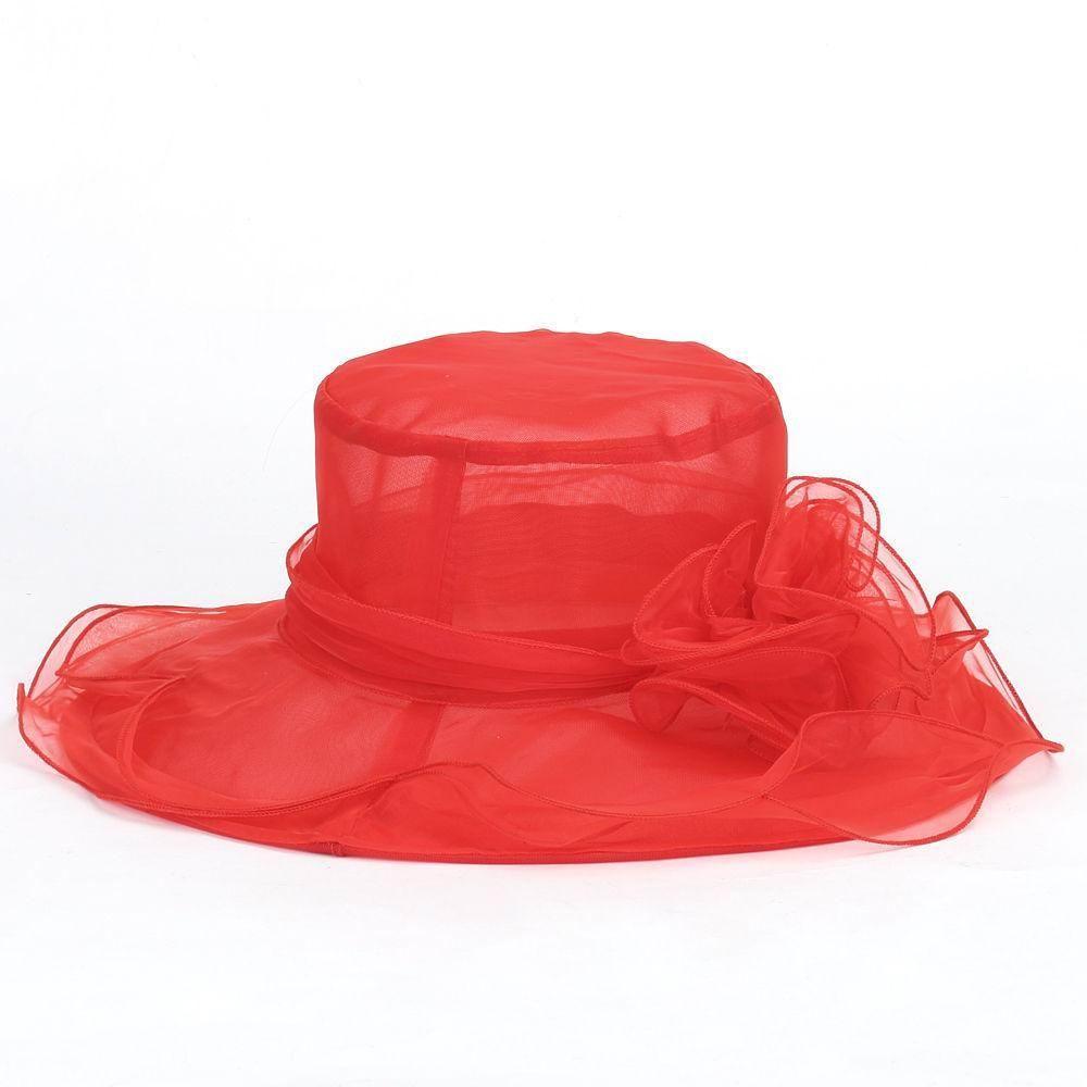 웨딩 모자 여성 교회 태양 모자 넓은 챙 모자 웨딩 드레스 티 파티 꽃 비치 파티 모자