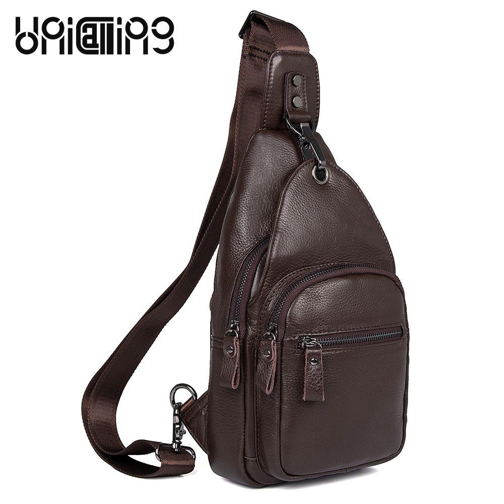 dd54083729a0 UniCalling Fashion Brand Retro cow leather men bag Leisure Solid Color men  chest Bag Zipper hasp messenger bags