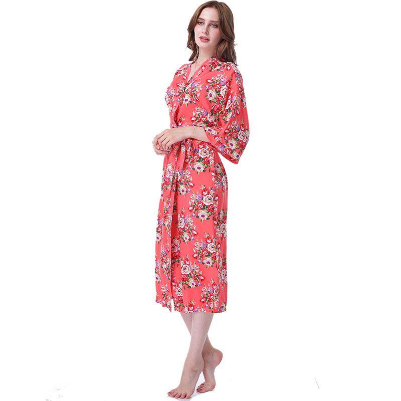 2018 Vestido Longo Floral Kimono Robe Batas De Algodon Pajamas ...