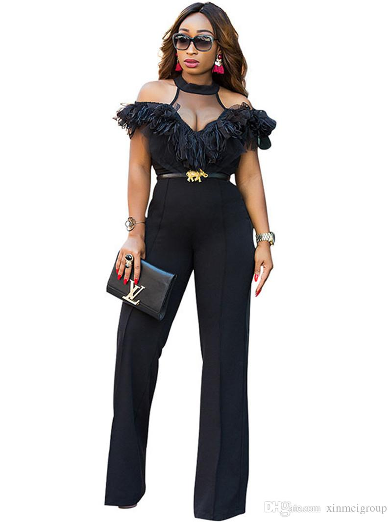 bf06ec8d6a3 2019 Women Backless Bodysuit Black Halter Lace Trim Wide Leg Jumpsuit  Transparent Bodysuit Sexy Costumes High Waist Overalls WE770074 From  Xinmeigroup