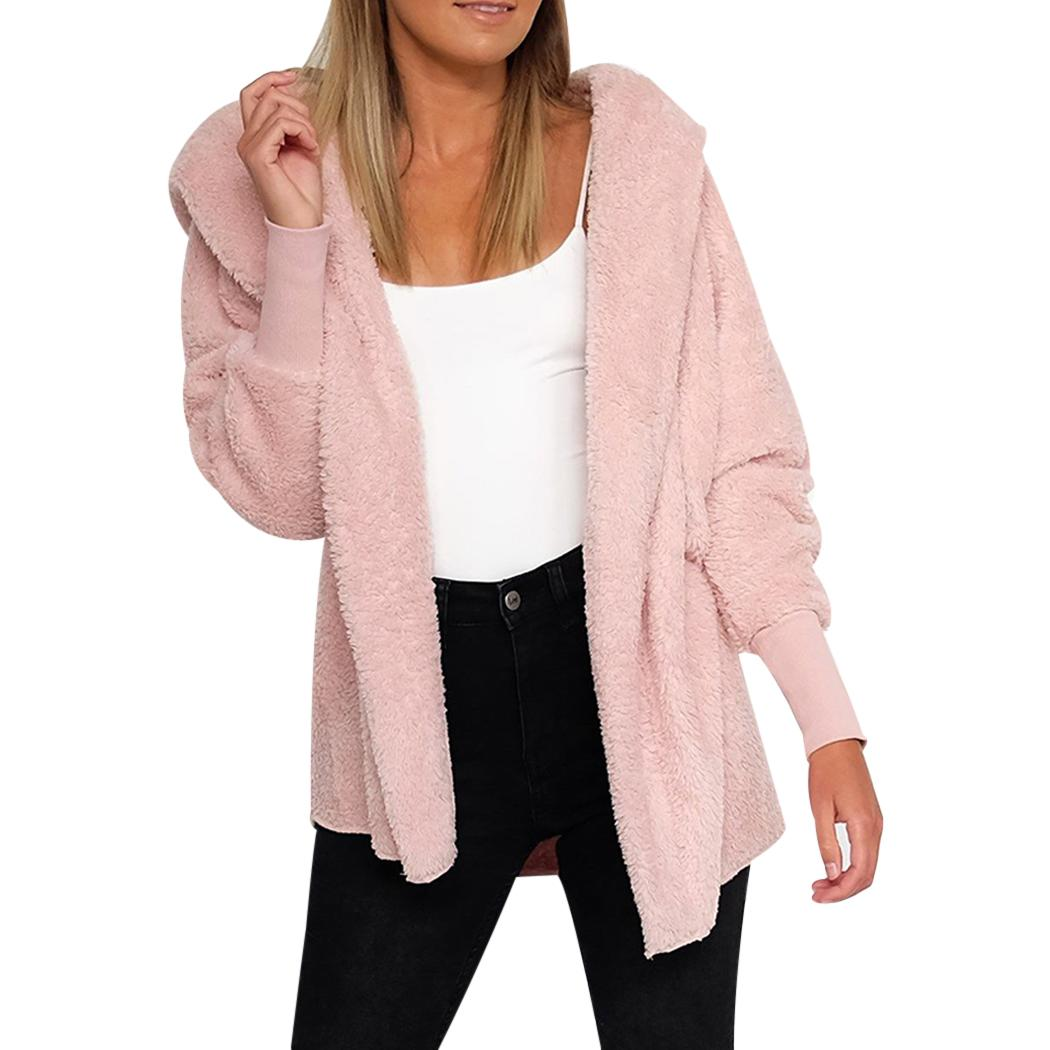 255efb864 2019 Women Hooded Cardigan Fluffy Coat Warm Fleece Jacket Sweater ...