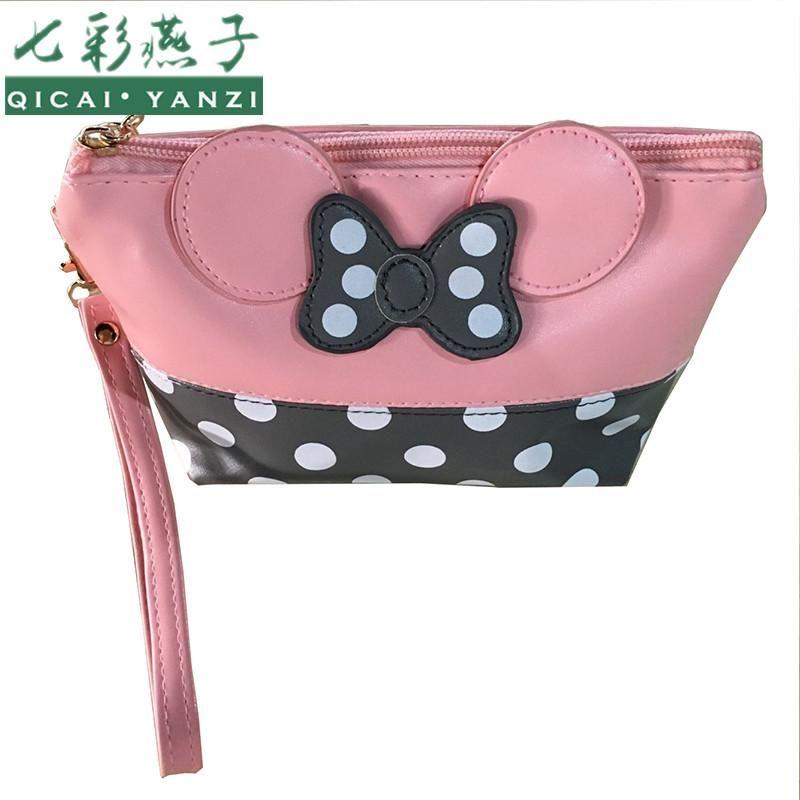 7a27ec33737 2018 Women PU Leather Butterfly Bow Wristlet Cosmetics Bags Fashion ...