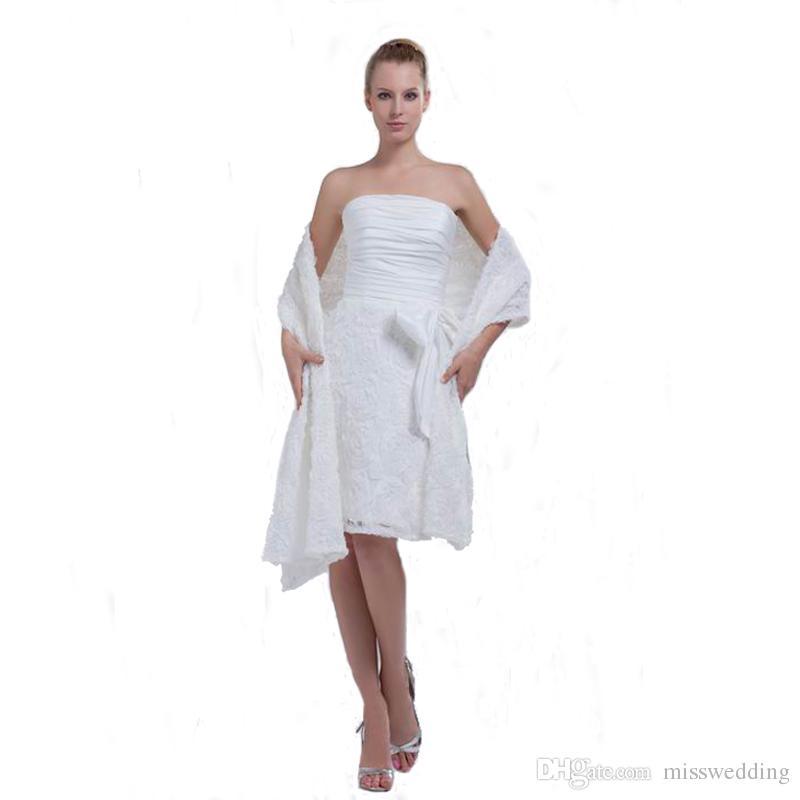 8c497a3d6 Compre Vestido De Boda Corto Del Estilo Del Nuevo Diseño Profesional 2018  Con La Envoltura Del Mantón Del Cordón Del Vestido De Boda Blanco Del  Hombro A ...