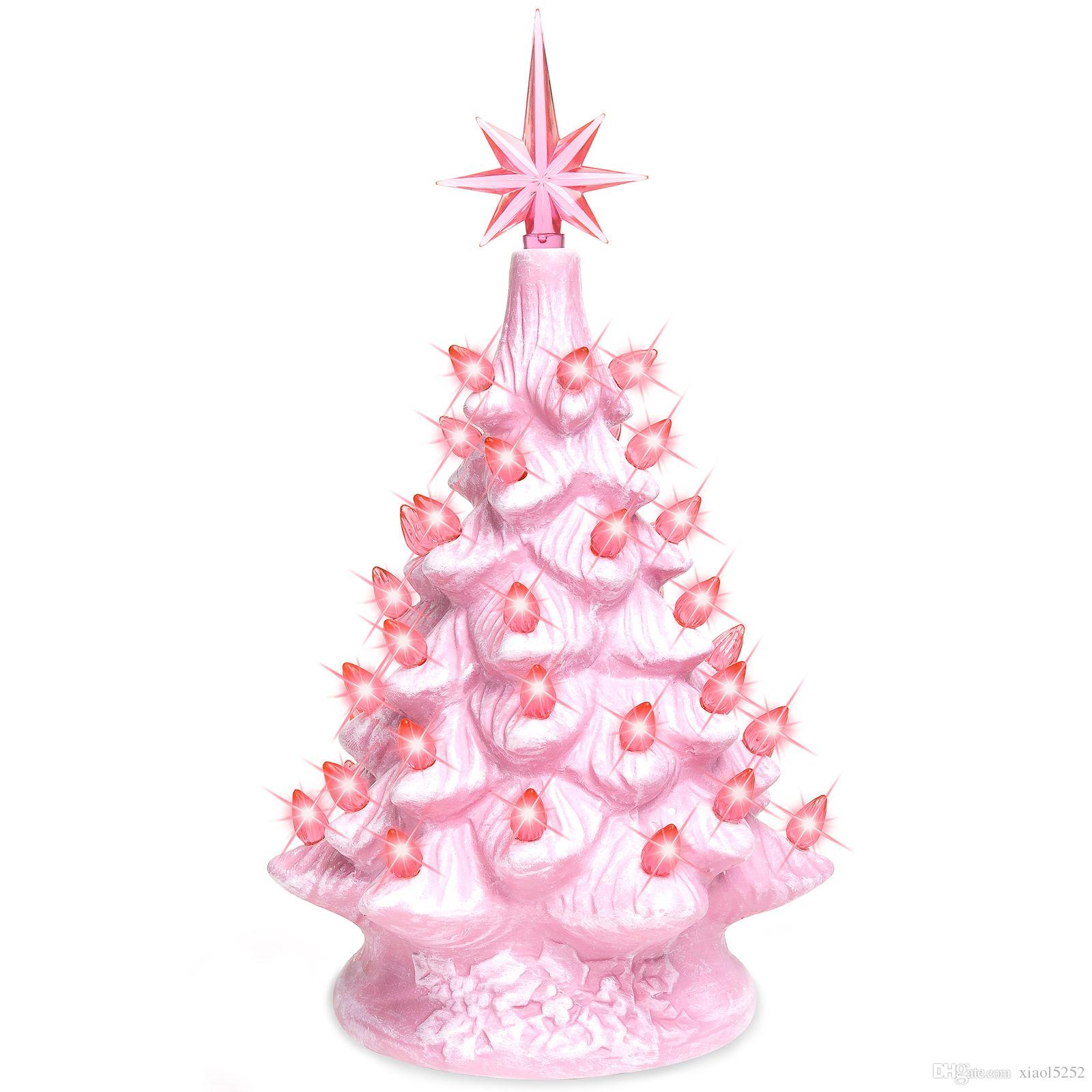 bcp 11in prelit ceramic tabletop christmas tree w lights pink ornaments christmas ornaments for christmas from xiaol5252 3016 dhgatecom