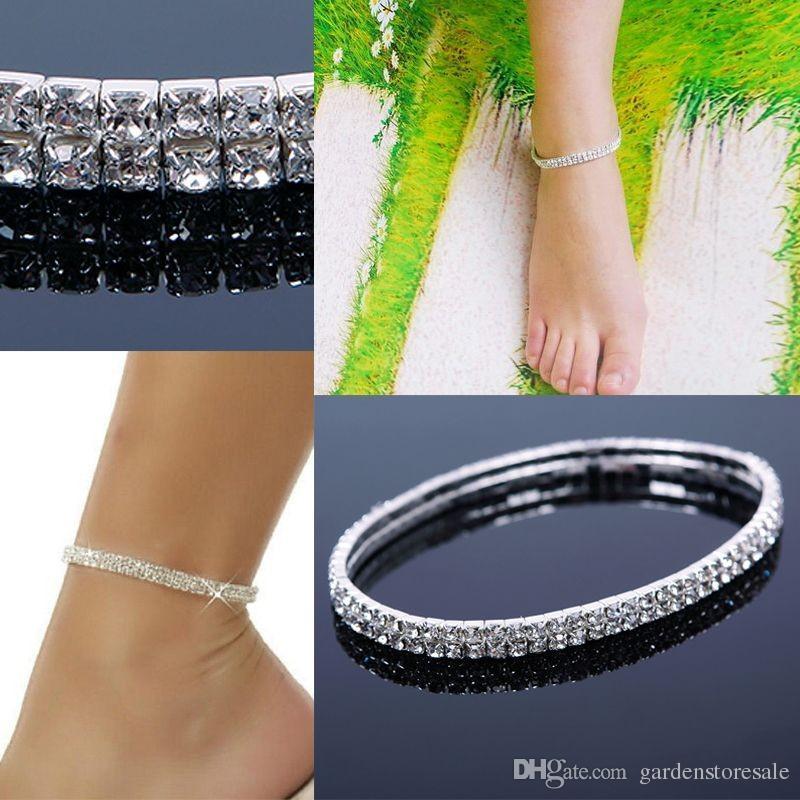 1 قطع القدم خلخال مزدوجة تمتد حجر الراين الفضة الذهب خلخال القدم الأزياء والمجوهرات القدم سلسلة الساق سوار