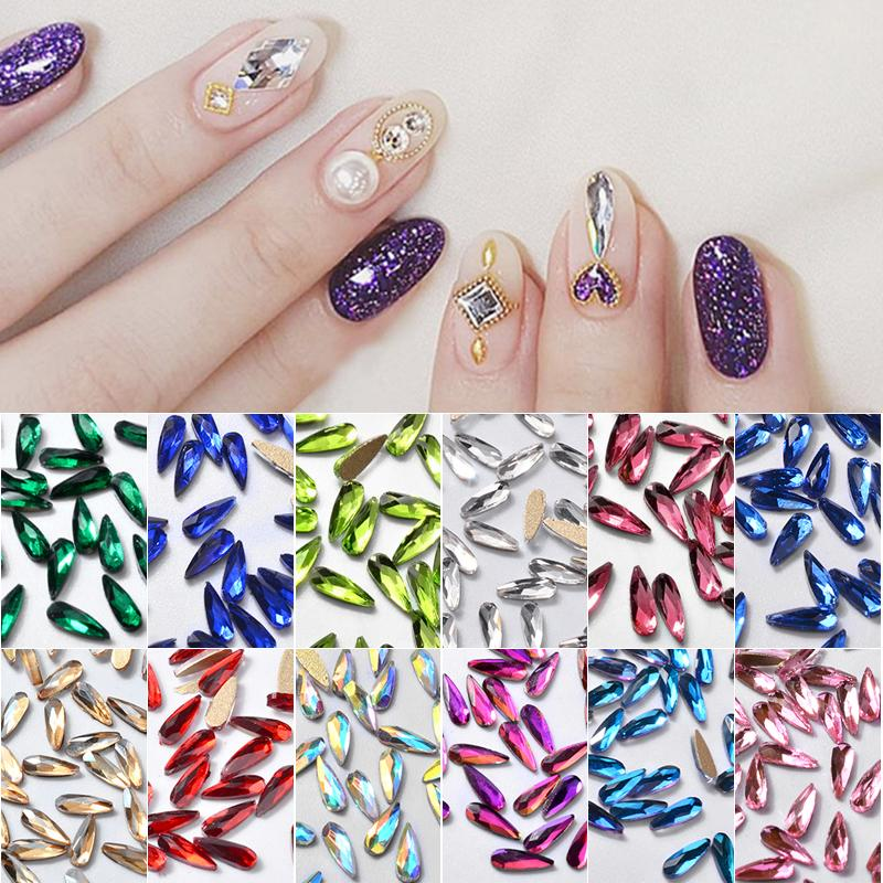 Elecool 10bags 3d Nail Art Rhinestones Decoration Water Drop Shape
