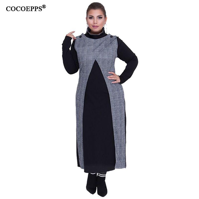 Acheter Cocoepps Tailles Plus Femmes Vetements Dhiver Plaid Robe 5xl 6xl Robes De Grande Taille Big Travail De Bureau Elegante Robe Robe Longue De 29 64 Du Amyshop8 Dhgate Com