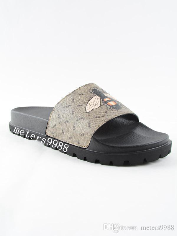 f76110cfaeee Mens Fashion Bee Print Trek Slide Sandals With Thick Rubber Sole Boys  Causal Flip Flops Male Size Euro 38 46 Jack Rogers Sandals White Wedges  From ...