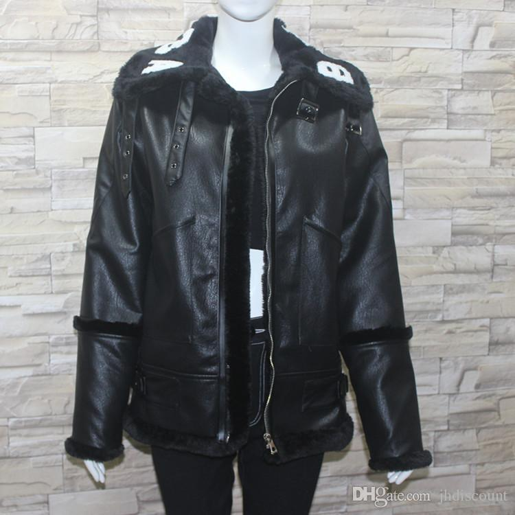 Black Leather Women Coat Collar White Letter Faux Fur Jacket Winter