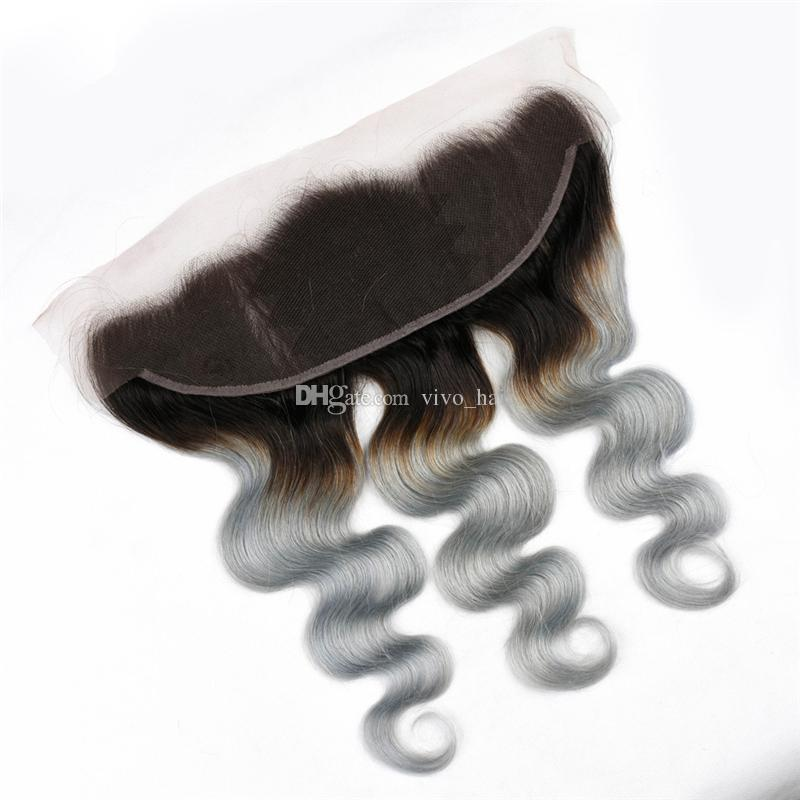 Indian Ombre Grey Virgin Hair Weaves with Lace Frontal Closure and Bundles 1B Gray Two Tone Ombre Body Wave Human Hair Frontal
