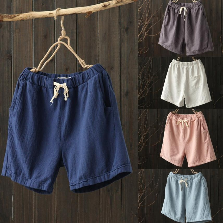 8b97792d3327 2019 KLV 2018 New Women Casual Cotton Linen Pants Elastic Waist Summer Slim  Lady Short Pants Dropshipping July 9 From Sikaku