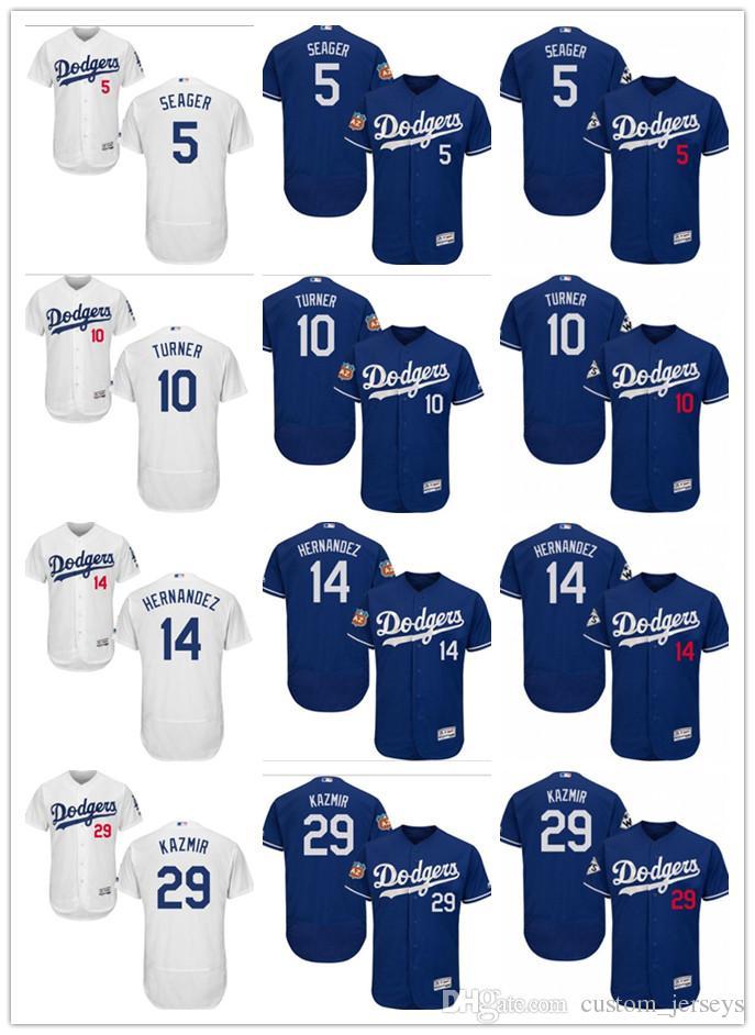 online store 9823f 2e5eb custom Men s women youth Majestic LA Dodgers Jersey #5 Corey Seager 14  Enrique Hernandez 29 Scott Kazmir 10 Justin Turner Baseball Jerseys