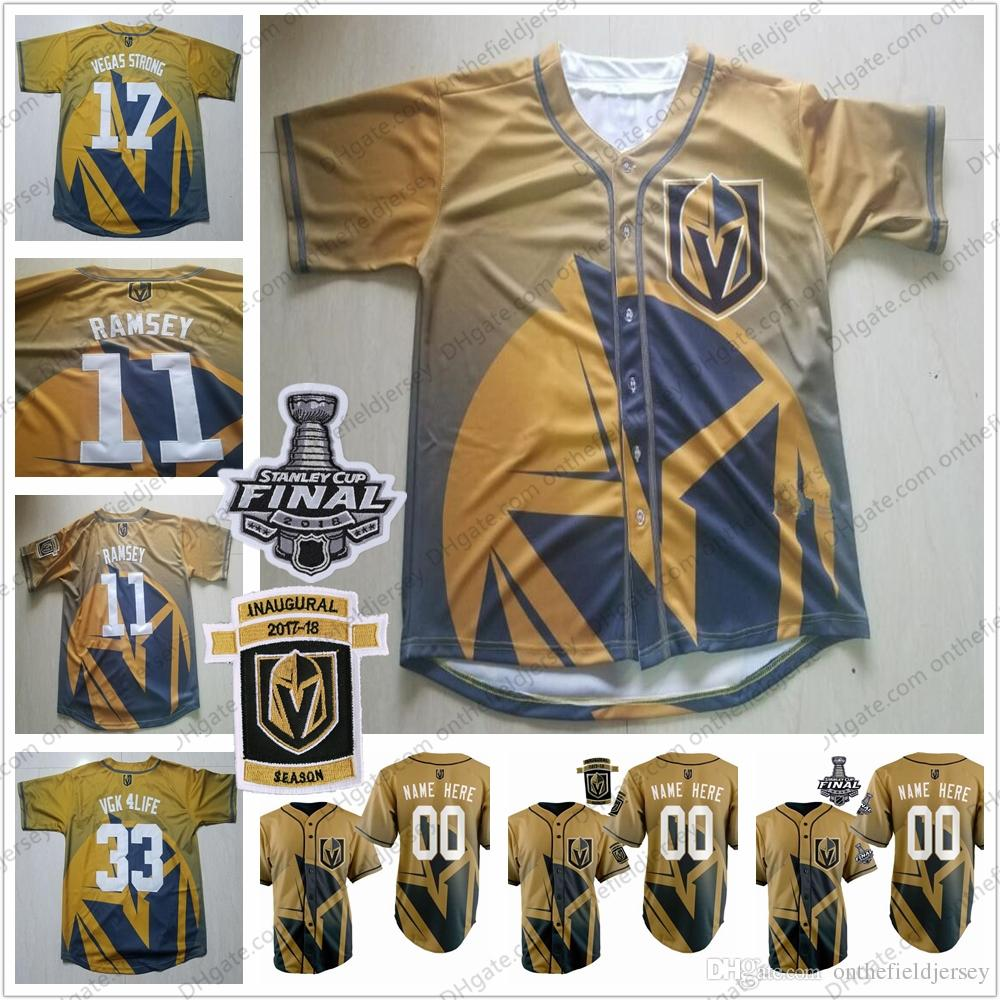 buy online 031bb df53b Custom Vegas Golden Knights Baseball Jerseys Any Name Number #29 Marc-Andre  Fleury 17 Vegas Strong 2018 Stanley Cup & Inaugural Patch S-4XL