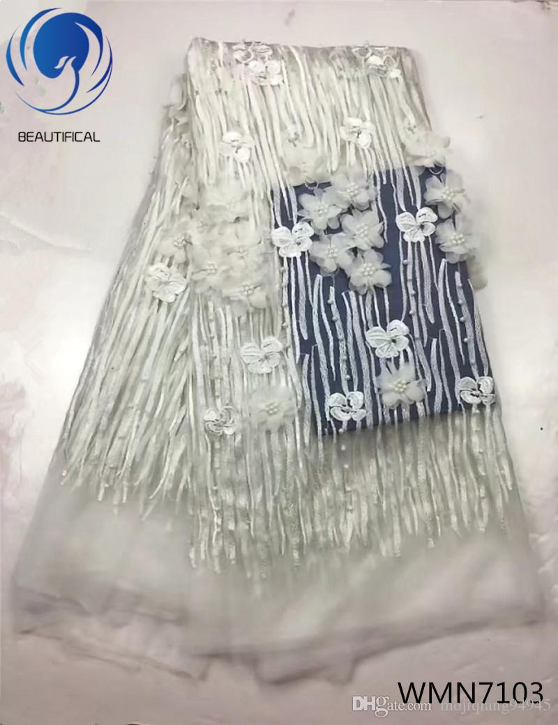 Flores 3D Em Tecido de Renda Francesa royalblue 2018 de Alta Qualidade Líquido Tecido de Renda Africano Com Contas de Rendas Tecidos Para O Casamento WMN71