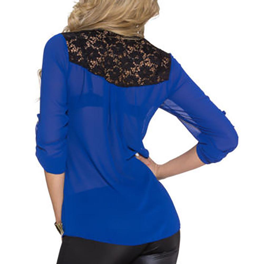 Camicia da donna con cerniera in pizzo chiffon con scollo a V in camicetta da donna in stile estivo i